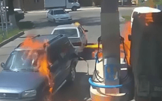 Dim-witted motorist accidentally sets petrol station on fire