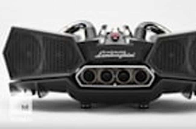 These deluxe speakers are made from Lamborghini exhaust pipes