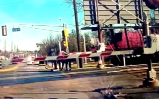 Good Samaritans help pensioner stuck on level crossing
