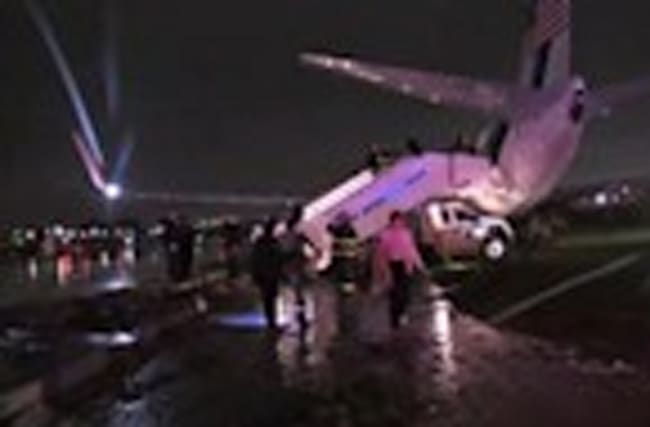 Pence's plane skids off runway at NY airport