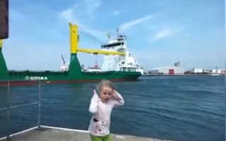 Little girl gets fright of her life when she asks ship to toot horn