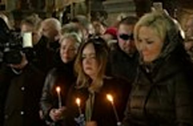 Memorial held for slain Russian lawmaker
