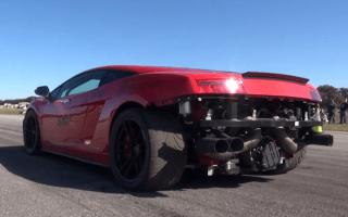 Lamborghini Gallardo spins out of control and into a lake
