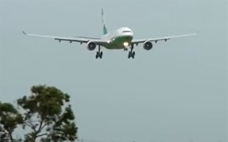 Video: Landing aborted as plane blown around runway by Typhoon Usagi