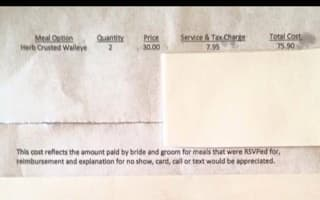 Guest fails to show up to wedding: so bride sends a bill