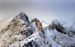 Stark raving mad? Naked climber scales Welsh peak