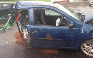 Driver has lucky escape after car split in half in crash