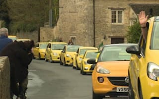 Yellow cars rally in support of vandalised Vauxhall in Gloucestershire