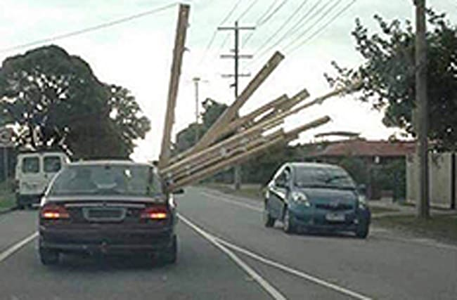 What a plank! Oncoming traffic forced to swerve motorist