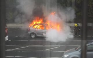 Woman narrowly escapes from car inferno