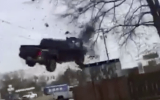 Pick-up truck ends up airborne in shocking 115mph police chase