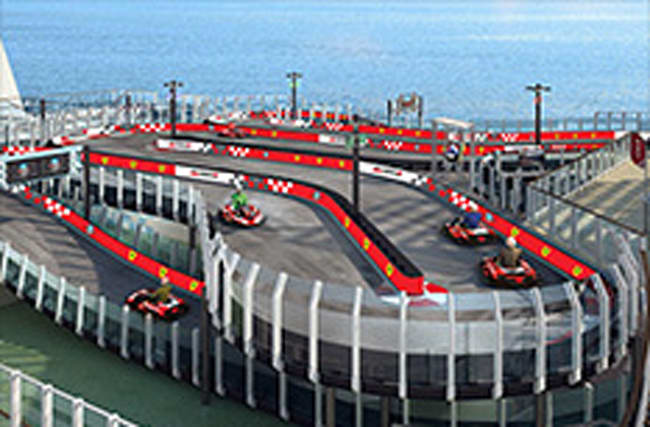 Ferrari create karting track on-board a cruise liner