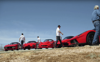 Jay Leno brings Ferrari's Fab Five to the racetrack