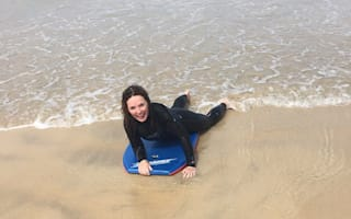 Geri Halliwell celebrates birthday by bodyboarding and go-karting in Cornwall