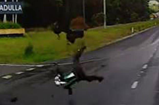 Biker sent flying in the air in Australian crash
