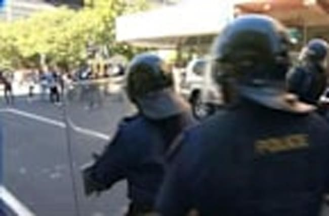 Cape Town: South African riot police fire stun grenades at protesting students