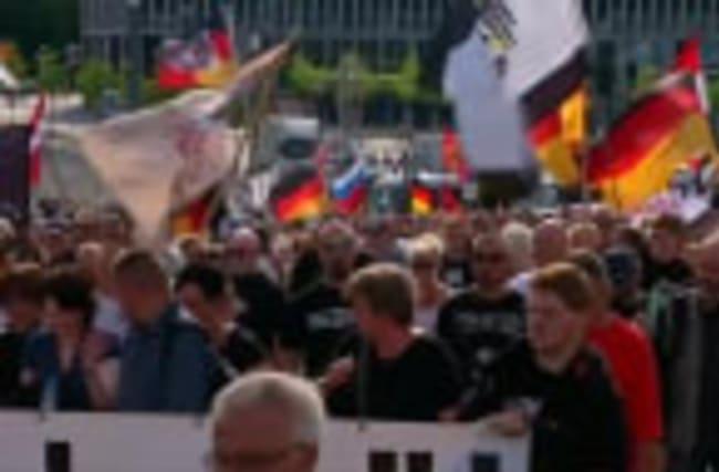 "Far-right take to street of Berlin saying ""Merkel has to go"""
