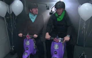 James Corden takes on Matt LeBlanc in scooter race
