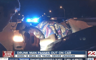 Couple unknowingly drive 14 miles with drunk man passed out on car boot