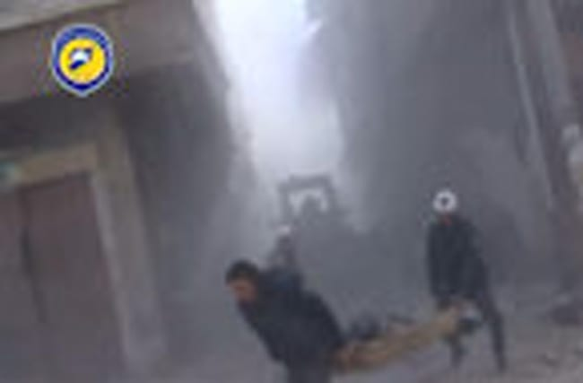 Damascus suburb hit by air strike in wake of rebel surge - internet video