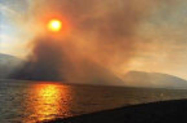 Fire Blocking Yellowstone National Park Entrance