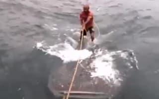 Men spark outrage after 'surfing' on endangered whale shark
