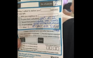 Astonishing message written on Hermes delivery note