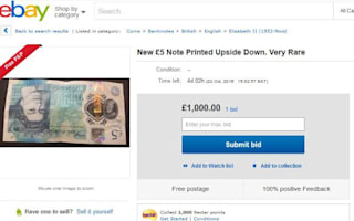 Cheeky eBay sellers asking thousands for 'upside down' £5 notes