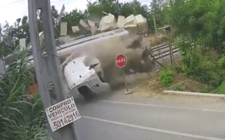 Fatal level-crossing crash captured on video