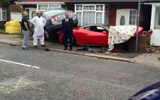 Red in the face! Rented Ferrari crashes into house
