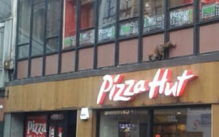 Fox 'talked down' from Pizza Hut ledge by blue-haired woman