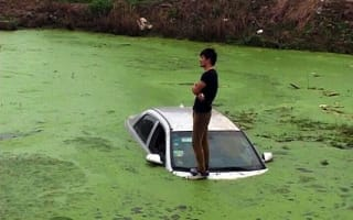 Driver rescued after taking his car for a dip