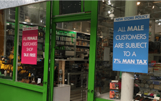 The shop charging a 'Man Tax' of 7%