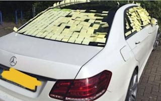 Mercedes driver discovers that you park poorly at your peril as his car is covered in sticky notes