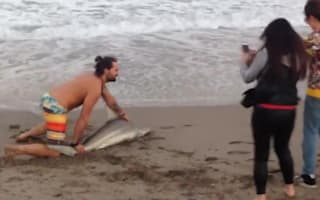 Man pulls shark from sea to pose for pictures (video)