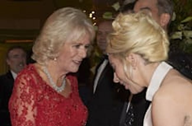 Lady Gaga shares a moment with Duchess Of Cornwall