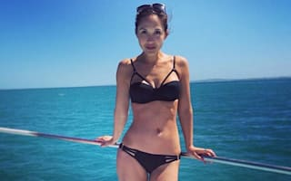Myleene Klass poses in bikini before shark diving in South Africa