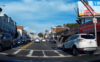 Shocking moment pedestrian is hit by car caught on camera