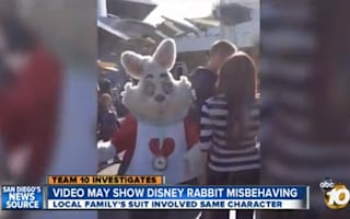 Disneyland's White Rabbit caught on camera swearing at two teen girls