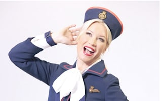 Denise Van Outen models vintage British Airways air hostess uniform