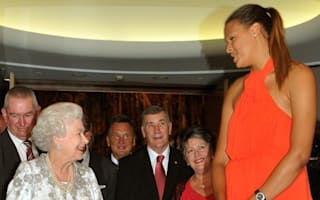 The Queen in Canberra: Her majesty meets 7ft tall basketball player