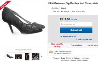 Big Brother star Nikki Grahame's lost shoe up for sale