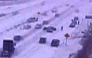 CCTV captures fifty-car pile-up
