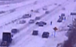 CCTV captures fifty-car pile-up