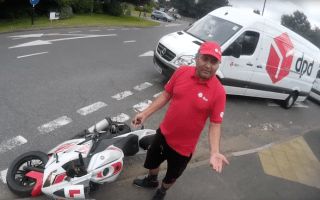 Careless delivery driver knocks biker to the ground