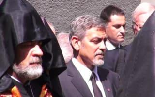 George Clooney lays flowers at genocide memorial in Armenia