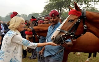 Duchess of Cornwall watches Indian army display on tour