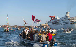 Venice protestors show their anger against cruise ships