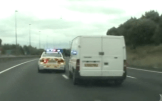 Terrifying van pursuit captured on police dashcam