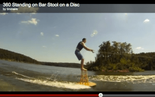 Video: Daredevil goes waterskiing - on a stool (don't try this at home...)